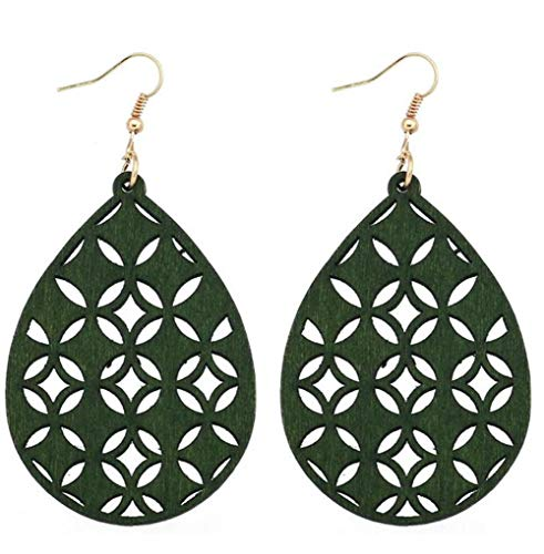 stylesilove Women Lightweight Bohemian Wooden Teardrop Cut-Out Dangle Earrings (Green) ()