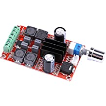 Yeeco 50W+50W Digital Power Amplifier Board High Power Audio Sereo Amplifier Module DC 9-25V Stereo AMP for DIY Speakers Car Vehicle Auto Computer Audio System with Volume Adjusting Knob Heatsink