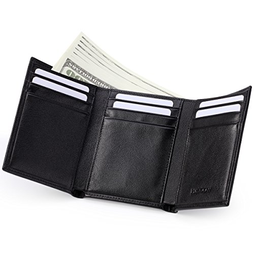HISCOW Trifold Wallet Black with 9 Credit Card Slots - Italian (Black Soft Italian Leather Billfold)
