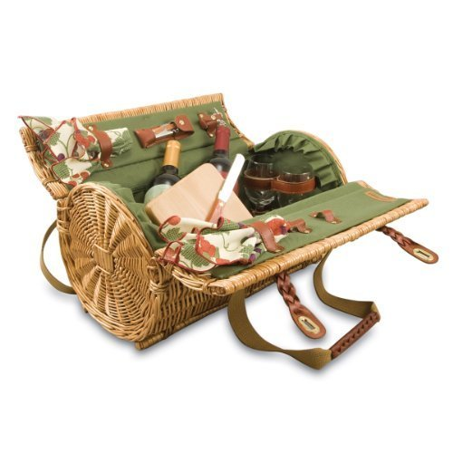 PICNIC TIME Verona Insulated Wine Basket with Wine/Cheese Service for Two, Pine ()