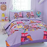 Goldstar Owl Duvet Cover Animal Printed Bed Linen Quilt Cover Bedding Set With Pillow Case (King, Cute Owl Purple)
