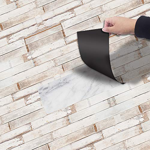 Stripe Ash Wood (Fymural 3D Floor Wall Paper - Removable Mural Stickers Vinyl Art Stripe Wood Grain Deacal Living Room Bathroom Antislip Decoration,118x7.87)