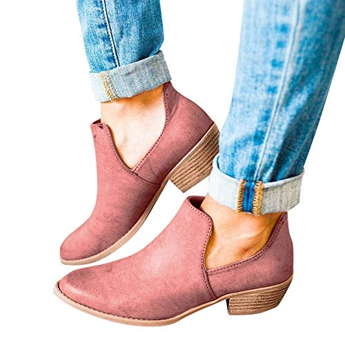Outtop(TM) Women Retro Roman Martain Boots Ladies Fashion Leather Short Ankle Booties Single Shoes (US:9.5, Pink) ()