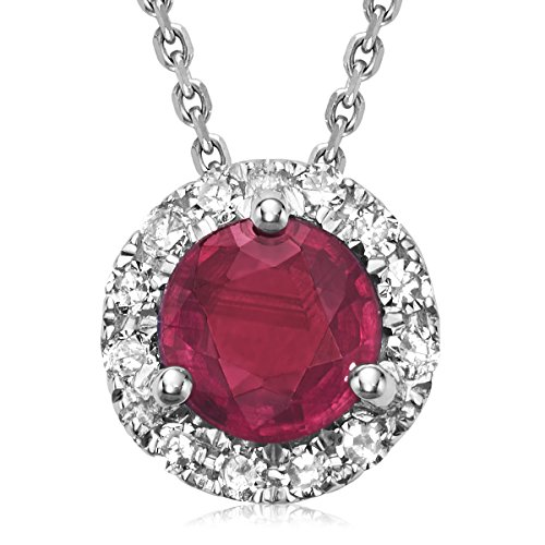 10K Gold Diamond and Ruby Martini cup Pendant (0.04TDW H-I Color,I1 Clarity) 18'' Cable Chain (ruby) by Jewels by Erika