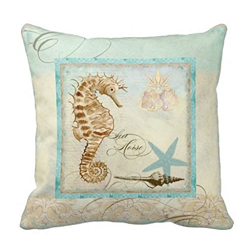 Sea Horse Coastal Beach Home Decor Pillow Cover 45 x 45 cm for Sofa