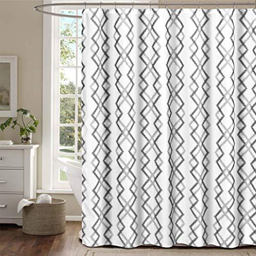 Duck River Textile Kelsey Reversible Geometric Stripe Mildew Resistant Fabric Shower Curtain Liner Waterproof | Water Repellent & Antibacterial-Assorted Colors, 70 x 72 Inch, White