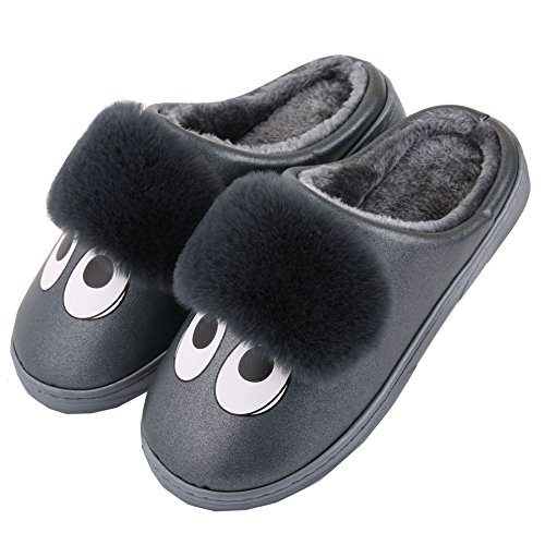Karikatur PU-Leder Familie Hausschuhe-Unisex Winter warm Pl¨¹sch Stiefel Schuhe Schwarz