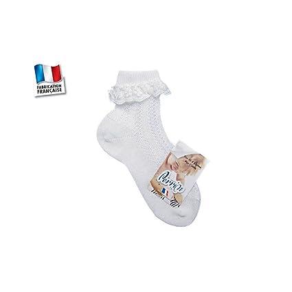 Perrin – Calcetines niña, blancas, encaje, del 19 al 24 talla – 23