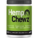 Hemp Chewz Dog Joint Supplements - Organic Treats Infused with Hemp Oil + Glucosamine Chondroitin for All-Natural Pain Relief & Mobility Support for Hips and Joints. 120 - Soft Chews