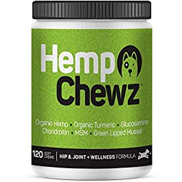 Hemp Chewz Dog Joint Supplements – Organic Treats Infused with Hemp Oil + Glucosamine Chondroitin for All-Natural Pain Relief & Mobility Support for Hips and Joints. 120 – Hemp Chews