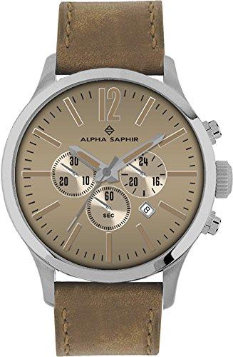 Alpha Saphir Reloj Analógico para Hombre de Cuarzo con Correa en Cuero 382D: Amazon.es: Relojes