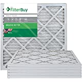 FilterBuy AFB Silver MERV 8 20x20x1 Pleated AC Furnace Air Filter. Pack of 6 Filters. 100% produced in the USA.