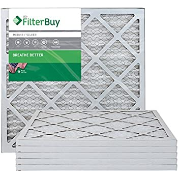 FilterBuy 20x22x1 MERV 8 Pleated AC Furnace Air Filter, (Pack of 6 Filters), 20x22x1 - Silver
