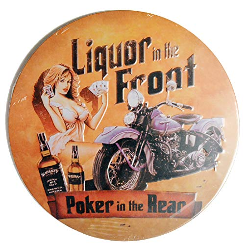 Embossed Hanging Tin Sign, Liquor in The Front, Poker in The Rear, Sexy Girl Metal Poster Plaque, Home Man Cave Garage Diner Decor, Round 12x12 inch / 30x30cm