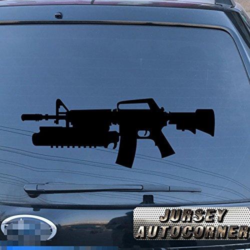 Jursey Auto M4A1 M4 carbine Decal Sticker Car Vinyl pick size color die cut no background 5.56 mm M16 rifle (black, 32