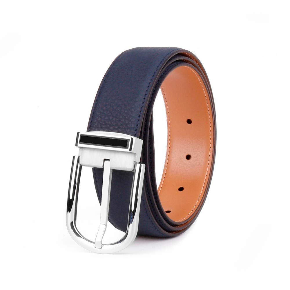 Mens Leather Belt Leather Stainless Steel Buckle Blue Reversable Belt