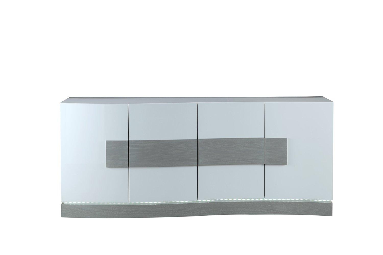 Credenza Moderna Sottile : Mobile credenza bianco e grigio con led ante design