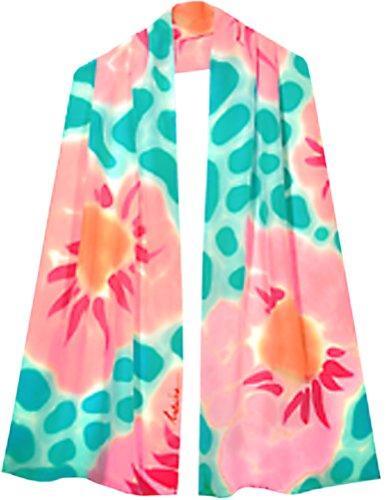 ULRIKE ~ Spring flowers of pinks and oranges float across an aqua Summer sea by ULRIKE