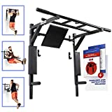 Wall Mounted Pull Up Bar and Dip Station with Vertical Knee Raise Station Dip Stand Bars Indoor Home Exercise Equipment for Men Woman and Kids Great for Workout and Fitness