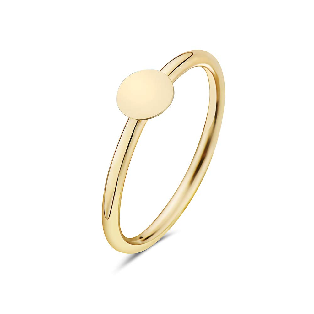 PORI JEWELERS 14K Solid Yellow Gold Geometric Shapes Minimalist Trendy Rings - All Shapes (Disc, 6)