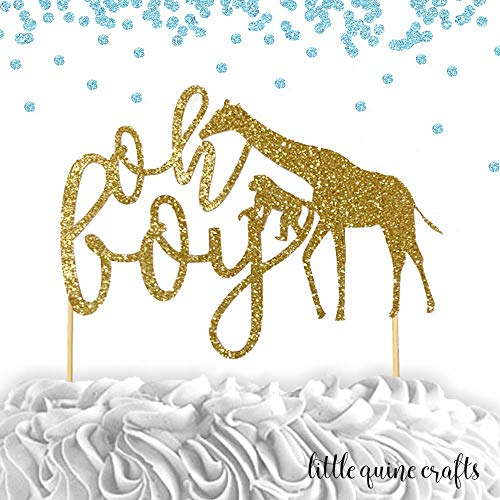 1 pc oh boy jungle safari animals cake topper baby shower boy summer theme gold black silver blue glitter