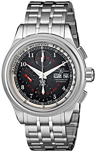 Ball Men's CM1010D-SCJ-BK Trainmaster Analog Display Swiss Automatic Silver Watch
