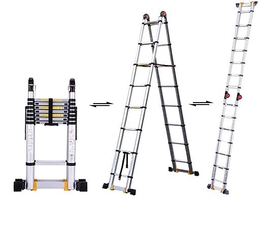 KEWEI Estante Escalera telescópica de Aluminio de 1.7M / 5.6 pies, Escalera telescópica con Marco A Plegable Multiusos, Certificación En131 / Cojinete de Carga 150Gk: Amazon.es: Hogar