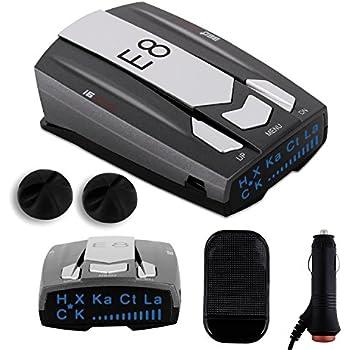 Radar Detector E8, Car Speed Laser Radar Detector with LED Display Voice Alert and Alarm System Radar Detector Kit with 360 Degree Detection FCC Certificate