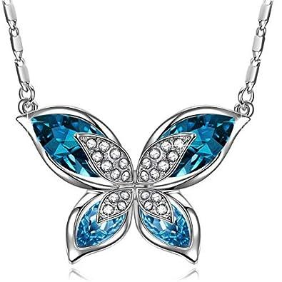 J. RENEÉ  quot  Papillon Collier Femme avec Bleu Océan Swarovski Elements,  Bijoux Femme 8d1ecf07a3f6