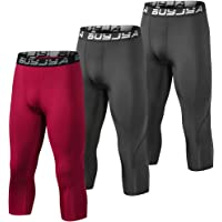 BUYJYA 3 Pack Men's 3/4 Compression Pants Running Tights Workout Leggings Athletic Cool Dry Yoga Gym Clothes