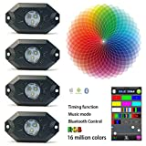 Kyпить MZQLight 9W 4 Pods Multicolor Neon LED Light Kit RGB LED Rock Lights with Bluetooth Controller Timing Function Music Mode на Amazon.com