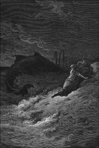 24''x36'' Poster - Jonah And The Whale From Gustave Dore English Bible Art 1866