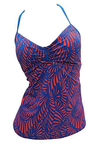 Nike Women's Blue and Orange Racerback Tankini Top Swimwear (Medium)