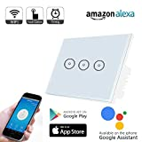 Smart WiFi Light Switch Work with Alexa,Weton Touch Smart Wall Switch Panel,Smart Light Timer Switch 110-240V,No Hub Required,Remote Control Your Smartphones from Anywhere