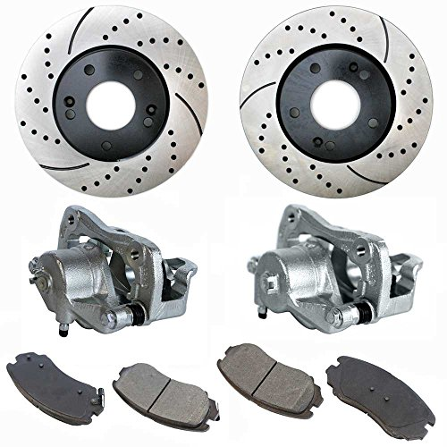Prime Choice Auto Parts - BCPKG00296-2 Drill Slotted Rotors 4 Metallic Pad 2 Caliper