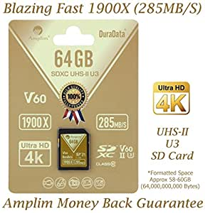 Amplim 64GB UHS-II SDXC SD Card Blazing Fast Read 285MB/S (1900X) Class 10 U3 Ultra High Speed V60 UHSII Extreme Pro SD XC Memory Card. Professional 4K 8K Video Shooting 64 GB/64G TF Flash. New