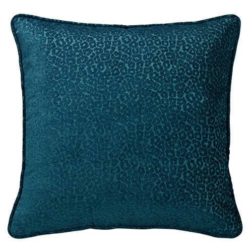 HiEnd Accents Teal Leopard Chenille Euro Sham, 27 by 27