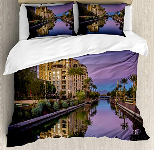 Ambesonne Arizona Duvet Cover Set, Photo of Az Canal in Scottsdale at Sunset with Downtown Architecture, Decorative 3 Piece Bedding Set with 2 Pillow Shams, Queen Size, Multicolor (Scottsdale Queen Comforter)