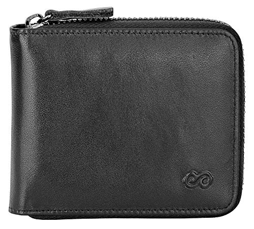 Men's Leather Zipper Wallet RFID Blocking Zip Around Wallet Bifold Multi Card Holder Purse black