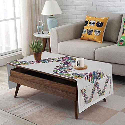 (Linen Blend Tablecloth,Side pocket design,Rectangular Coffee Table Pad,Letter W,Collection of Butterflies Language of Grace Alphabet Font Letter W Girls Design Decorative,Multicolor,for Home Decor)