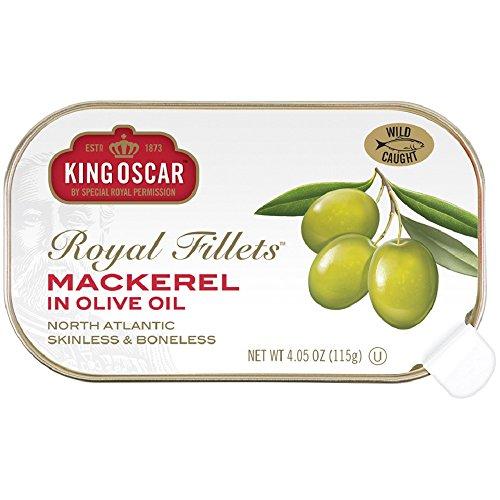 King Oscar Skinless & Boneless Mackerel Fillets in Olive Oil, 4.05 Ounce (Pack of (Mackerel Fillets)