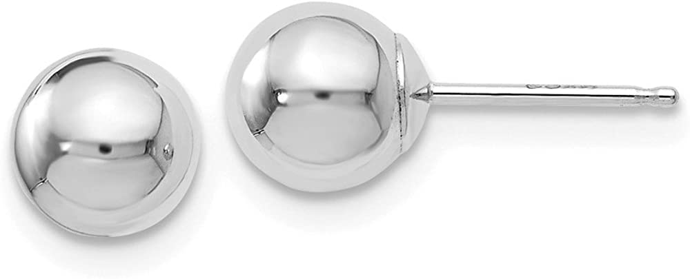 Leslies Real 14kt White Gold Polished 6mm Ball Post Earrings