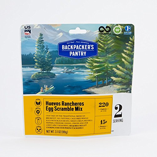 Backpacker's Pantry Huevos Rancheros Egg Scramble Mix, 2 Servings Per Pouch, Freeze Dried Food, 15 Grams of Protein, Vegetarian Backpackers Pantry Egg Mix