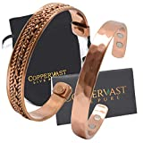 2 Handmade Copper bracelets for men and women-Arthritis therapy magnetic bracelets with 6 powerful magnets-Effective & Natural Relief for Joint Pain and Arthritis(set of 2-Hammered +Chain Inlay)