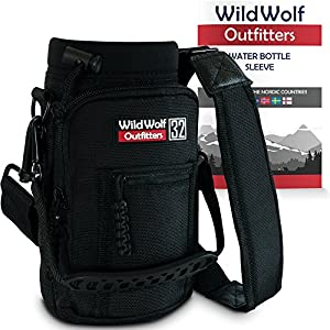 Water Bottle Holder for 32oz Bottles by Wild Wolf Outfitters - Black - Carry, Protect and Insulate Your Best Flask with This Military Grade Carrier w/ 2 Pockets & an Adjustable Padded Shoulder Strap