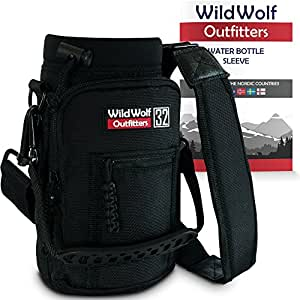 Water Bottle Holder for 32oz Bottles by Wild Wolf Outfitters - Black - Carry, Protect and Insulate Your Best Flask with This Military Grade Carrier w/ 2 Pockets & an Adjustable Padded Shoulder Strap.