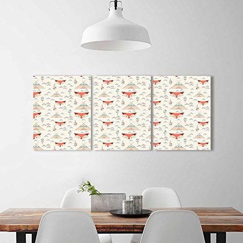 Price comparison product image Frameless Paintings 3 Pieces Painting Native American Fox Wigwams Arrows Feathers Cartoon Style Ethnic Print Orange Beige to liven up Energize Any Wall Room.