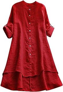 Chemisier Décontracté Femmes, Couleur Unie Boutons Coton Lin Longue Chemise lâche T-Shirt Blouse Tops