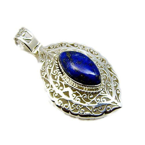 - 55Carat Natural Lapis Lazuli 925 Silver Charms for Women Pendant Chakra Healing Healing Marquise Shape Necklace