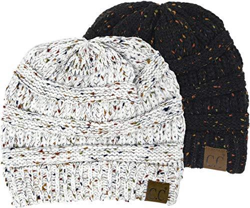 - H-6033-2-0625 Confetti Knit Beanie Bundle - 1 Black, 1 Ivory (2 Pack)
